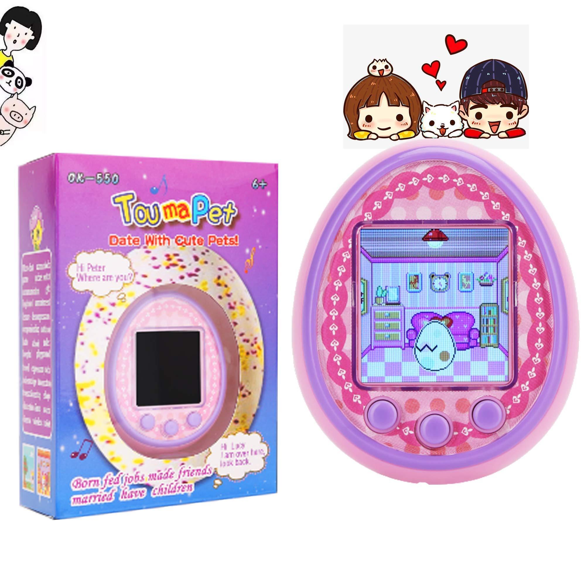 KKLE Virtual Electronic Pets Handheld Pet Game Machine HD Color Screen Kids Electronic Toys Boys Girls Gift. (Pink)