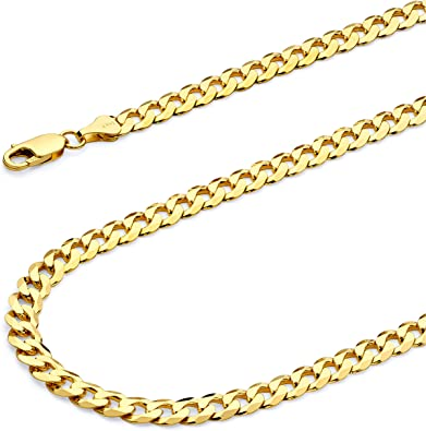 TWJC 14k Yellow Gold Hollow Mens 3.5mm Figaro 3+1 Chain Necklace with Lobster Claw Clasp