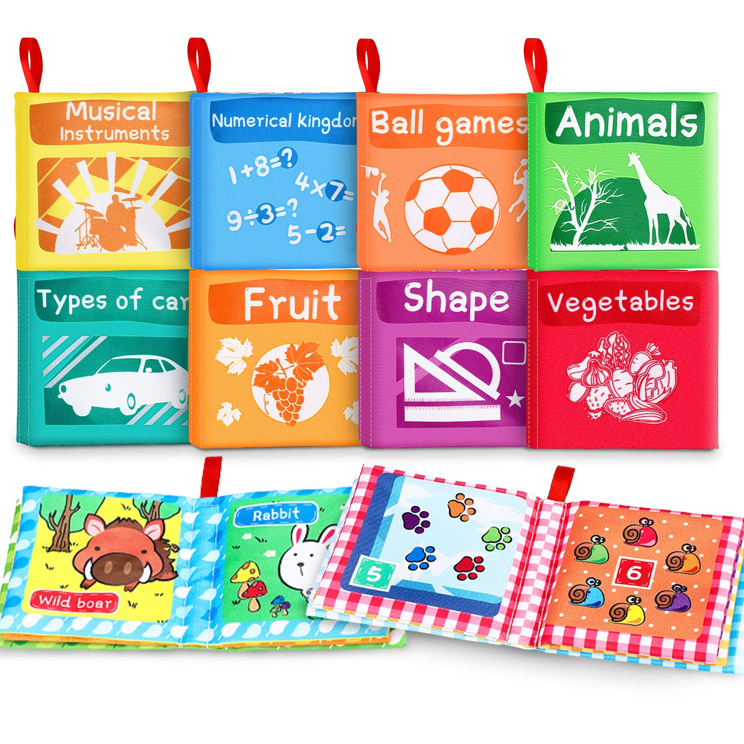 Magicfun Cloth Books for Babies, Baby Books First Year Touch and Feel Crinkle Crinkle Cloth Book for Toddler Infants Learning Toys for Early Development Pack of 8 (with a Rustling Sound)