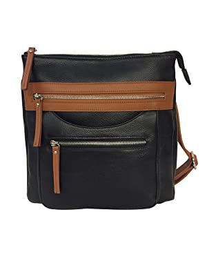 6. Cowhide Leather Concealment Purse CCW Lockable Conceal Carry Gun Bag with Wire Reinforcement Strap
