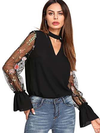 6d4c351da32bea Verdusa Women's Floral Embroidered Mesh Sleeve Choker Neck Blouse Black XS