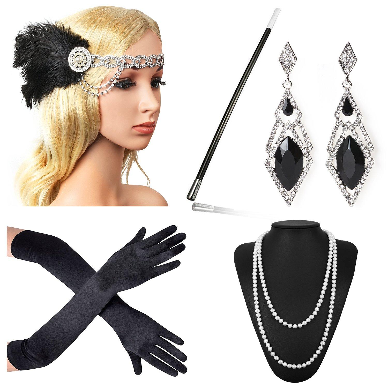 Beelittle 1920s Accessories Headband Earrings Necklace Gloves Cigarette Holder (F6)