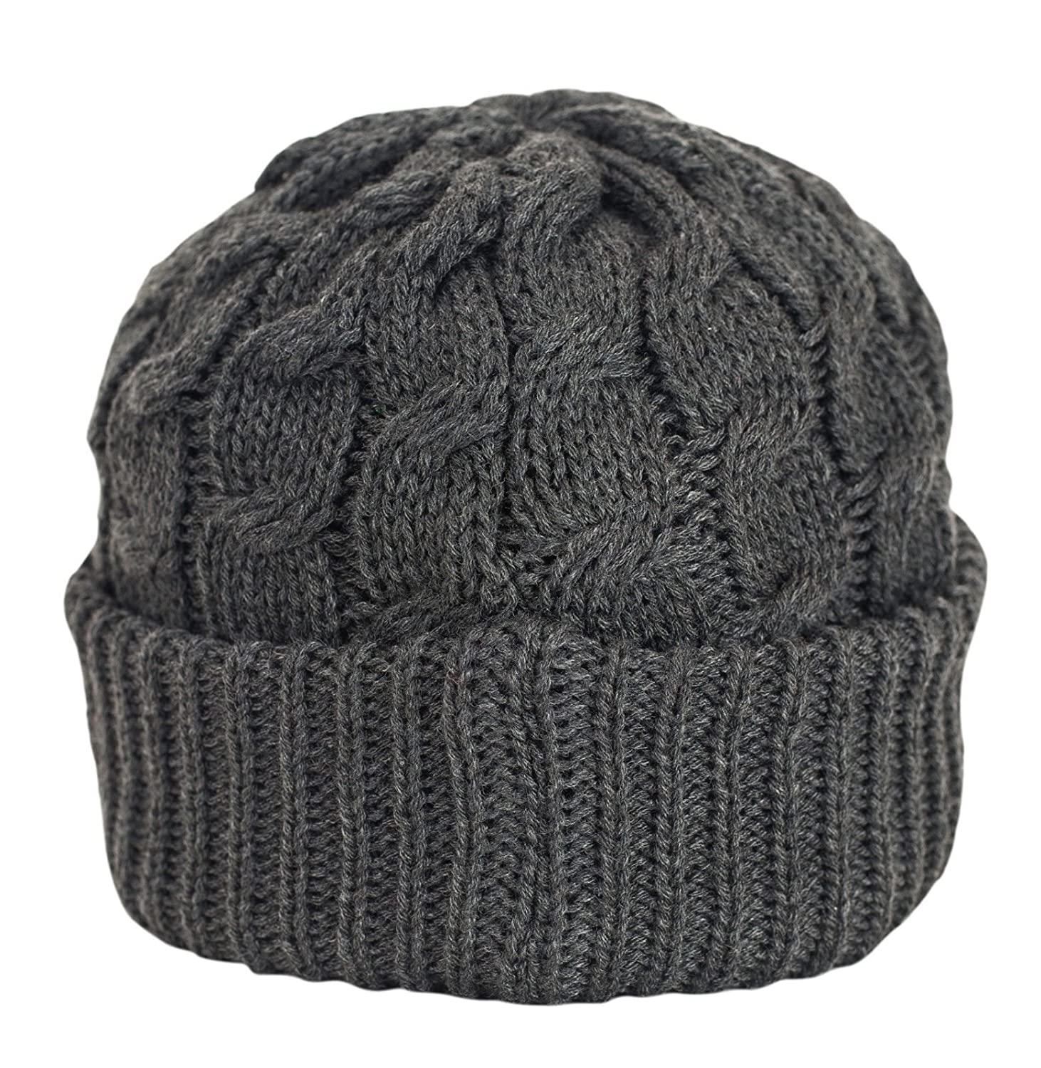 0d80786dc59 Amazon.com  Urbanhatshop Newsboy Cable Knitted Visor Beanie Bill Winter  Warm Hat All Colors (Charcoal)  Clothing
