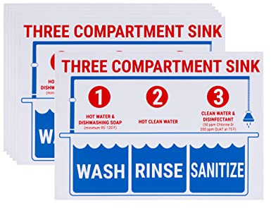 image about Wash Rinse Sanitize Printable Signs named Sink Indicators - 6-Pack Sink Sticker Labels, Clean Rinse Sanitize Labels for 3 Compartment Sink, Meals Prep Indication within English, for Cafe, Kitchen area, Foodstuff