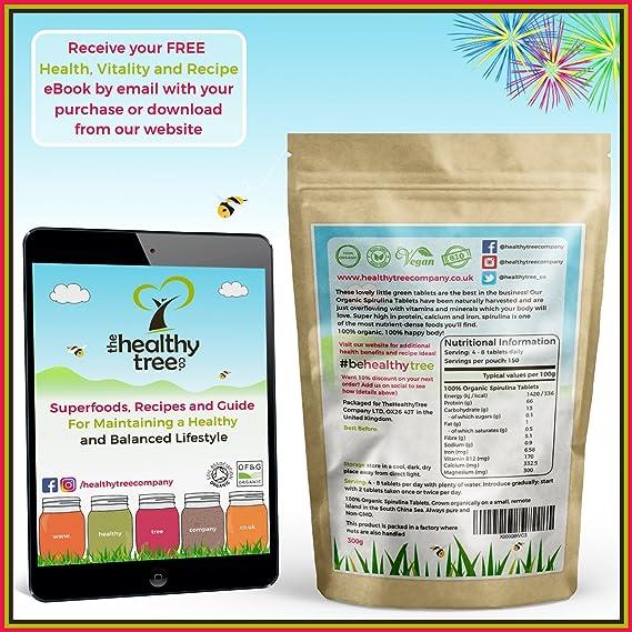 TheHealthyTree Company Tabletas de Espirulina Orgánica - certificadas en el Reino Unido - 600 x 500mg (300g): Amazon.es: Salud y cuidado personal