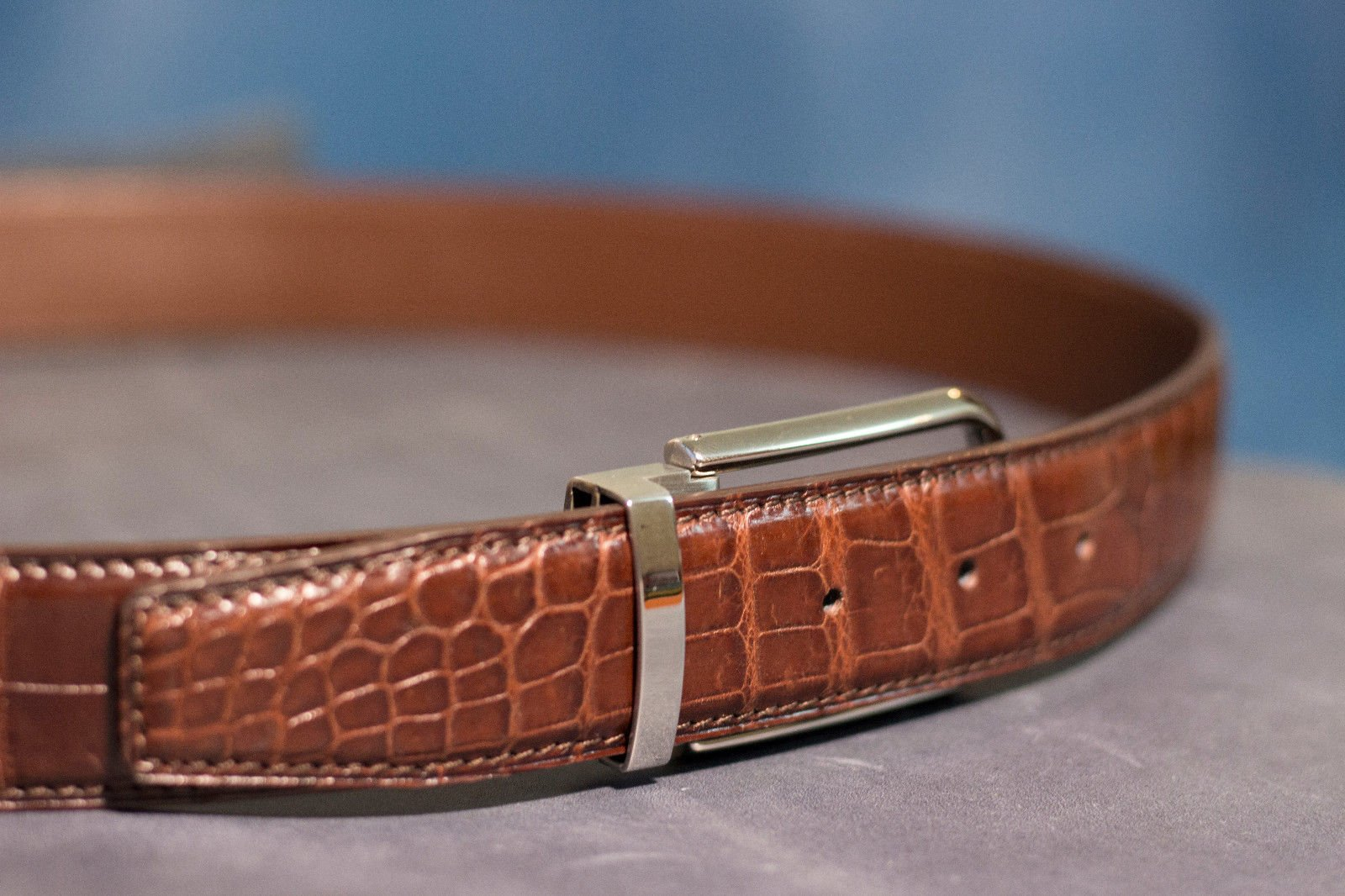 Genuine Crocodile Leather Belt - Without Buckle