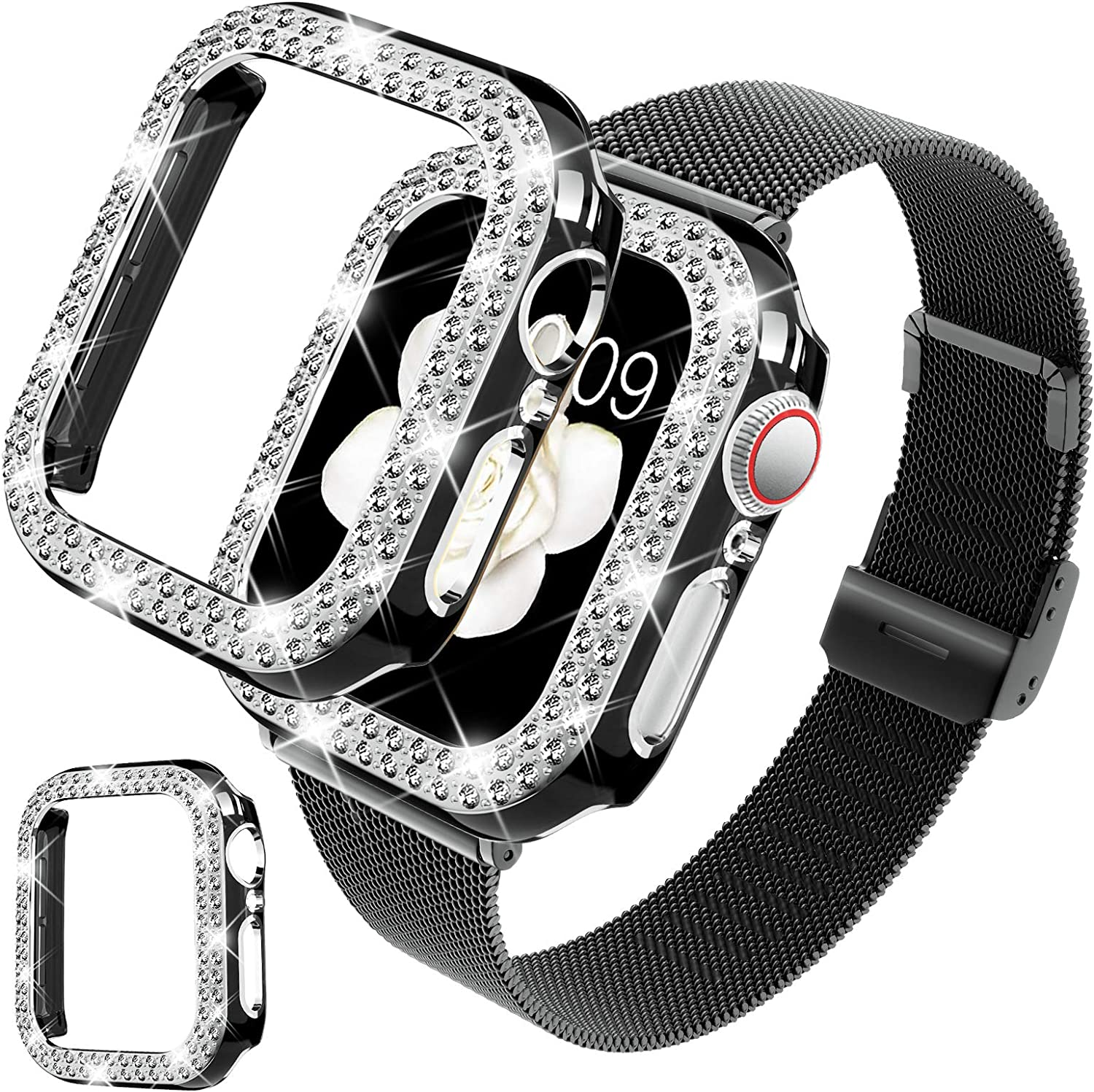 DABAOZA Compatible for Apple Watch Band 38mm with Case, Stainless Steel Mesh Loop Strap Replacement Wristband with Shiny Protective Bling Bumper Frame Cover for iWatch Series 3/2/1 (38mm, Black-Black)