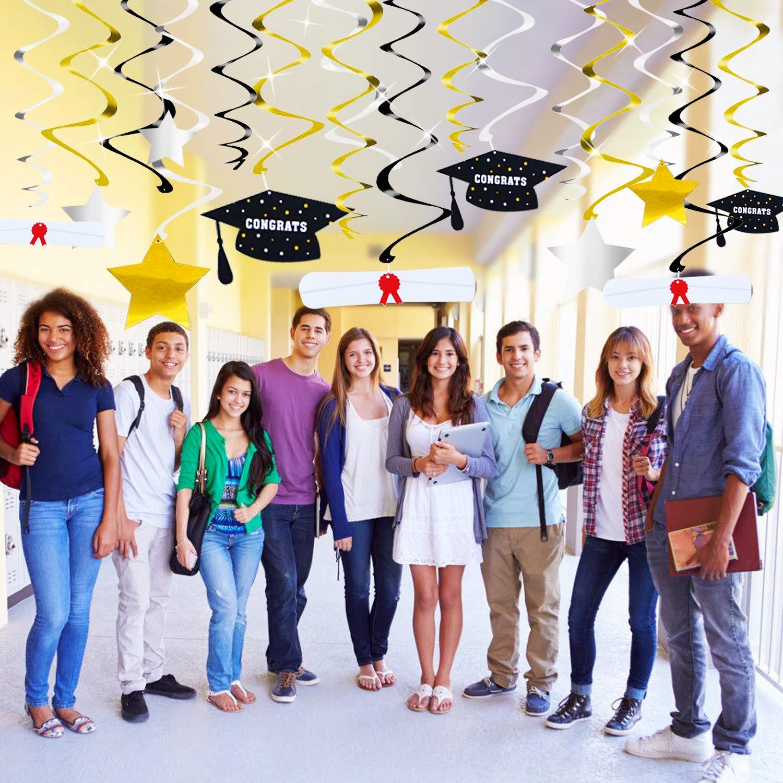 48 PCS Graduation Party Supplies 2019 Decorations Hanging Swirl Gold and Sliver Star//Graduation Caps//Diplomas Foil Hanging Graduation Decorations for High School Prom Graduation Party Supplies