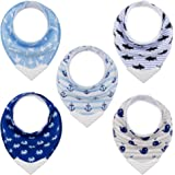 Bandana Bibs with Teether, BPA-Free Silicone Teething Corner for Babies (5-Pack)