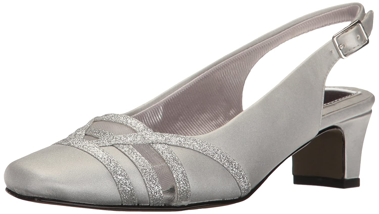 Easy Street Women's Kristen Dress Pump B01N47DBKG 10 B(M) US|Silver Satin/Silver