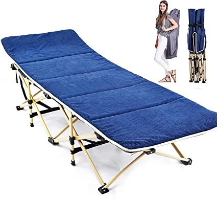 Folding Camping Cot Heavy-duty Bed w// Mattress /& Carry Bag for Travel Vocation