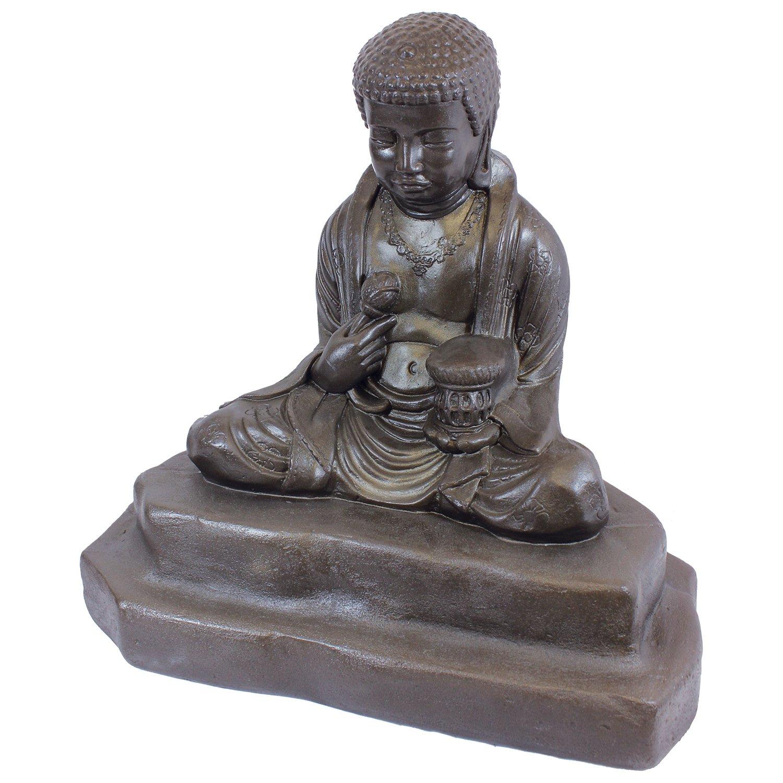 Emsco Group 92220 Lightweight Meditating Buddha Garden Statue, 24'', Bronze