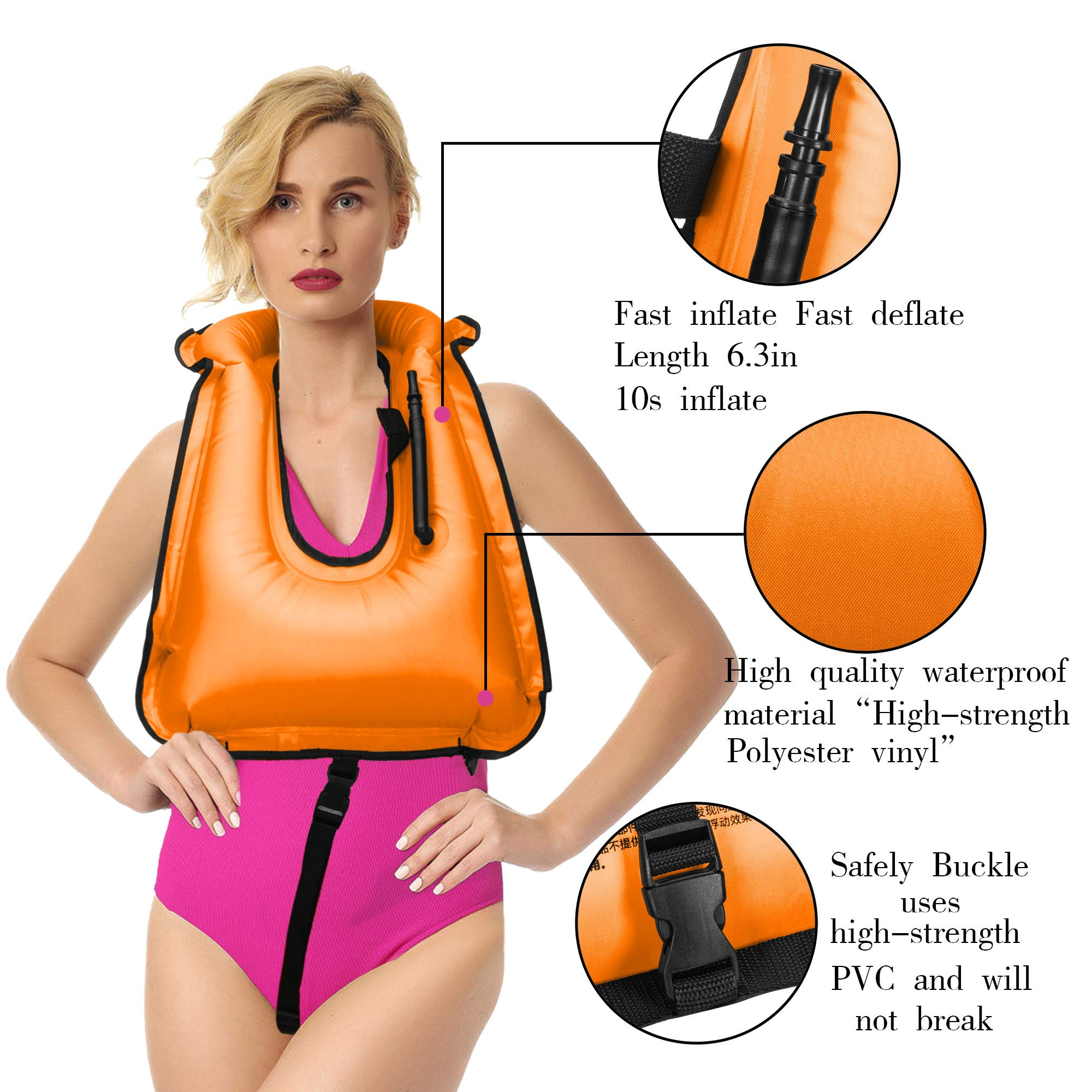 YAPA Inflatable Snorkel Vest Adult Life Jackets Vests Free Diving Swimming Safety Load Up to 220 Ibs