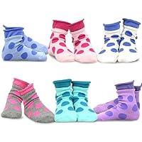TeeHee (Naartjie) Kids Girls Cotton Roll Top Crew Socks 6 Pair Pack
