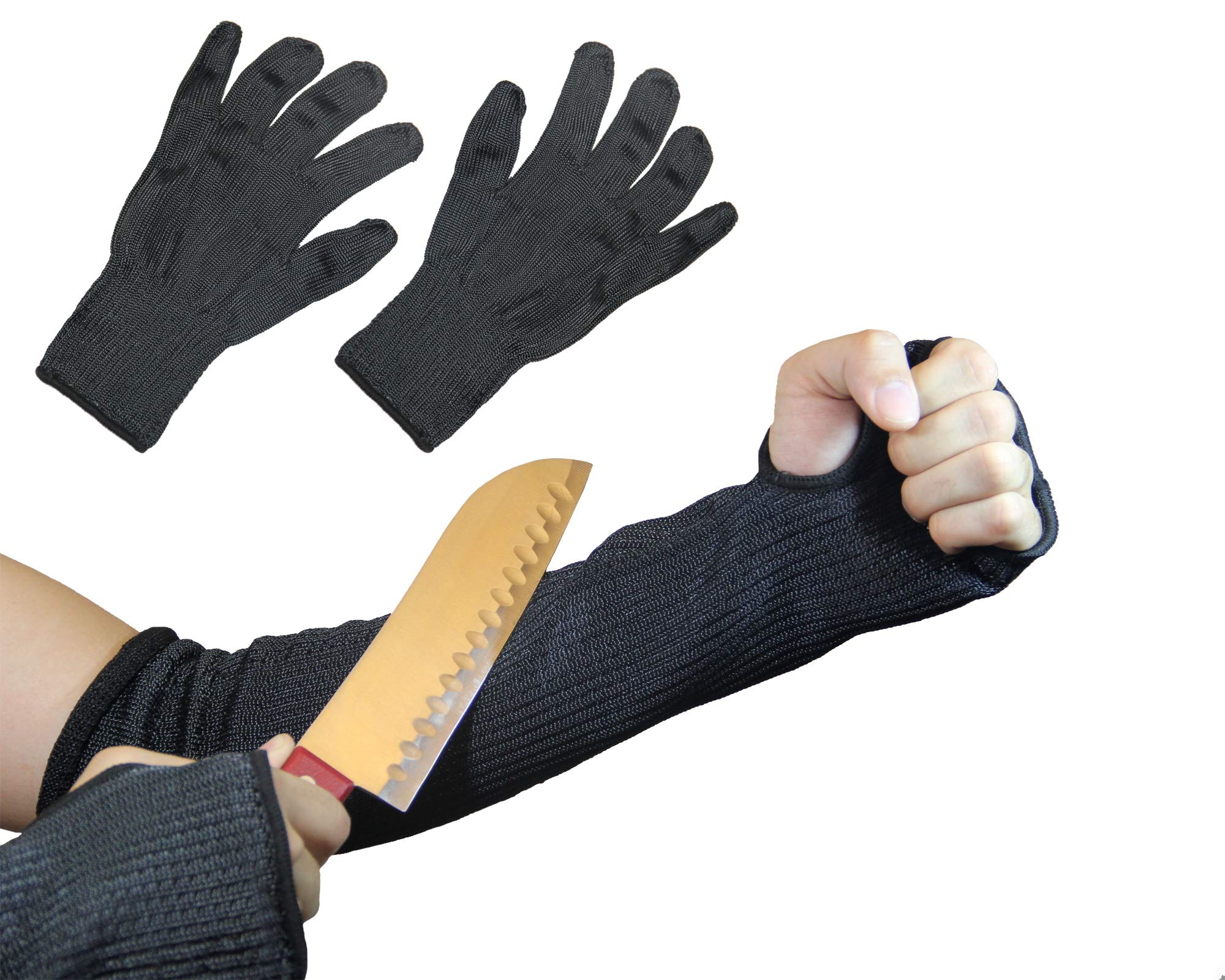 Anti-Cut and Heat Resistant Kevlar Sleeves and Kevlar Gloves (1 Pair Each) Ultimate Safety Work Protection