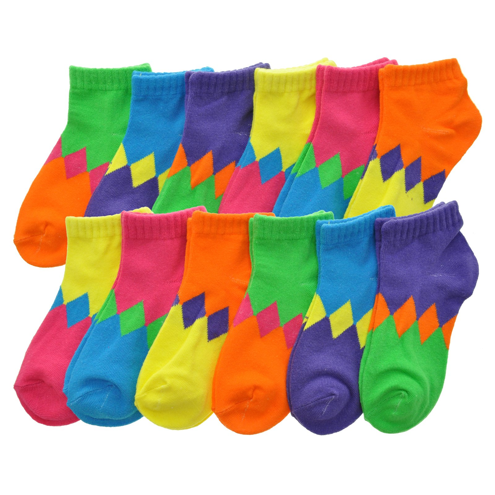 Angelina Cotton Low Cut Trainer Socks (12-Pack), 2305_DCO_6-8