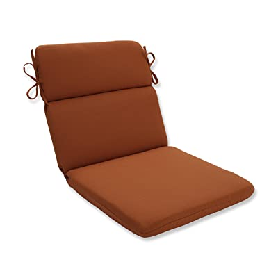 Pillow Perfect Outdoor Cinnabar Rounded Chair Cushion, Burnt Orange: Home & Kitchen