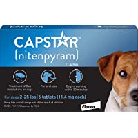Elanco Animal Health Capstar Fast-Acting Oral Flea Treatment for Small Dogs, 6 Doses, 57 mg (2-25…