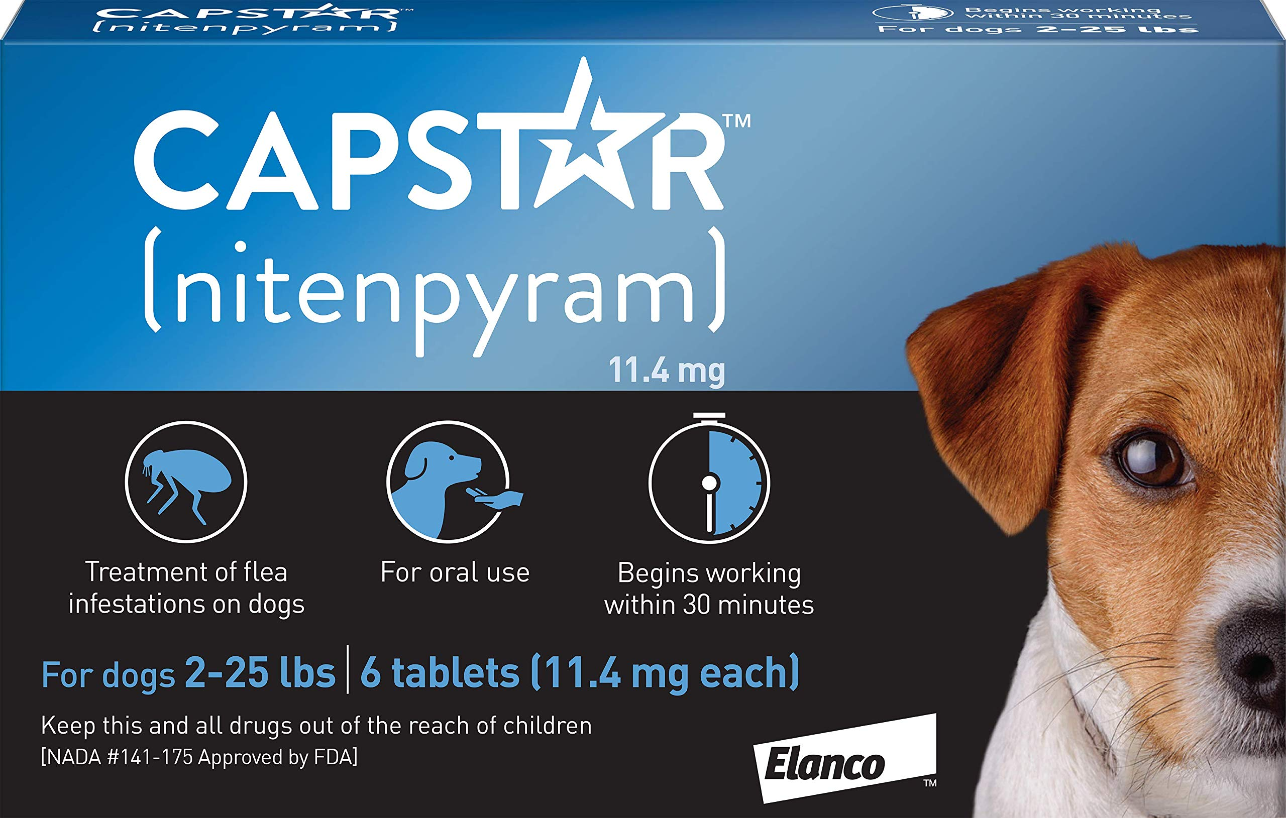 Capstar Fast-Acting Oral Flea Treatment for Small Dogs, 6 Doses, 57 mg (2-25 lbs) by Elanco Animal Health