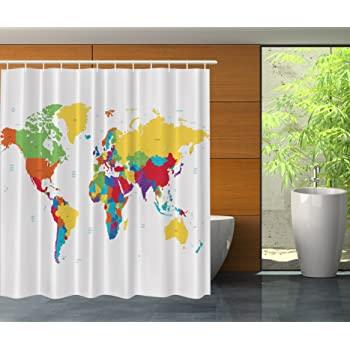 Earth In My Bathroom Direction Ability Home Fashion Set Decorative Item Exclusive Cool Decorations Atlas Fabric Shower Curtain