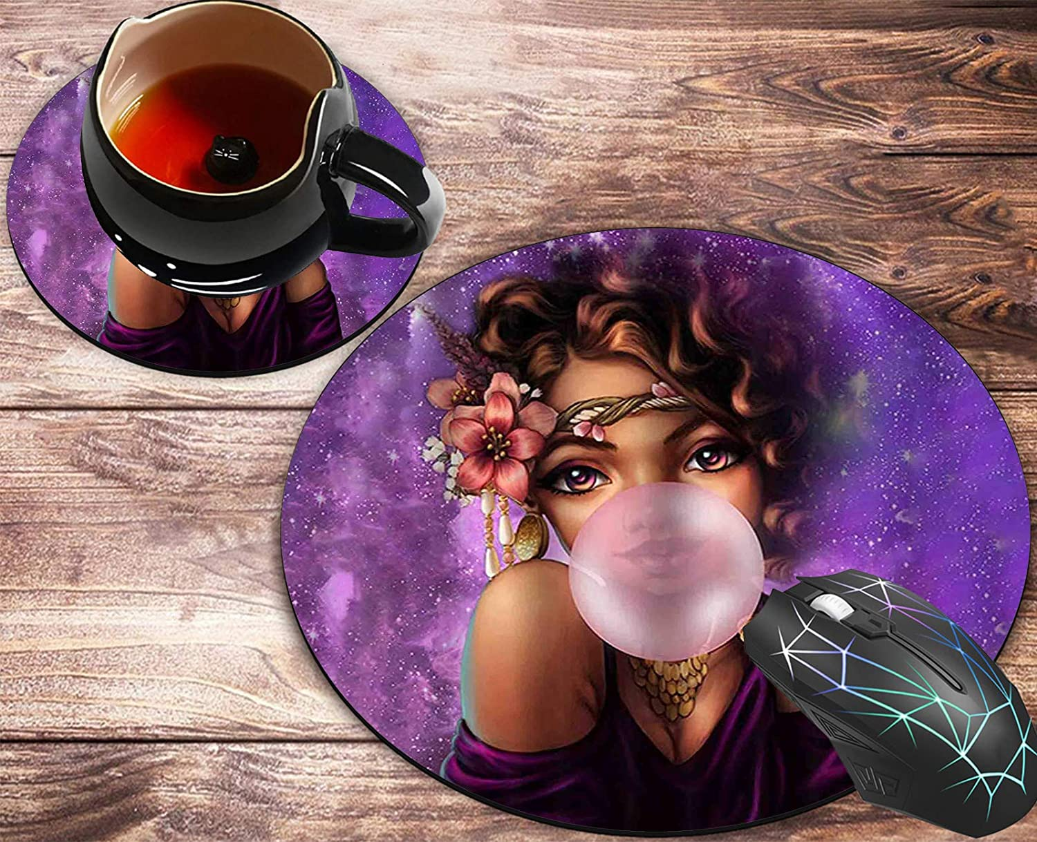 Round Mouse Pad and Coasters Set, Cool Girl African American Woman Mousepad, Anti Slip Rubber Round Mousepads Desktop Notebook Mouse Mat for Working and Gaming
