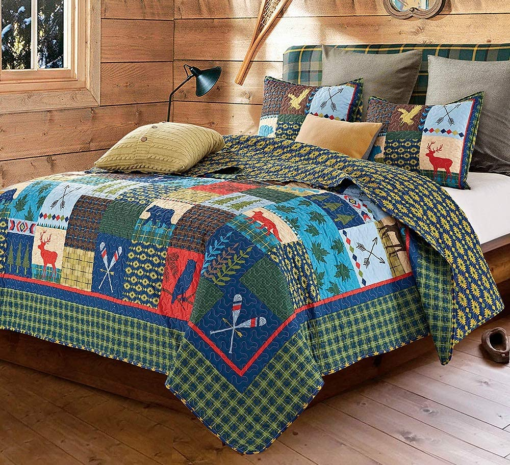 Virah Bella Lake & Lodge Rustic Patchwork Printed Quilt Set - Twin Size