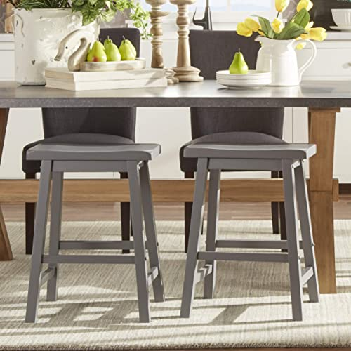 Union 5 Home Newburg Saddle Back 24-inch Counter Height Backless Stool – Set of 2