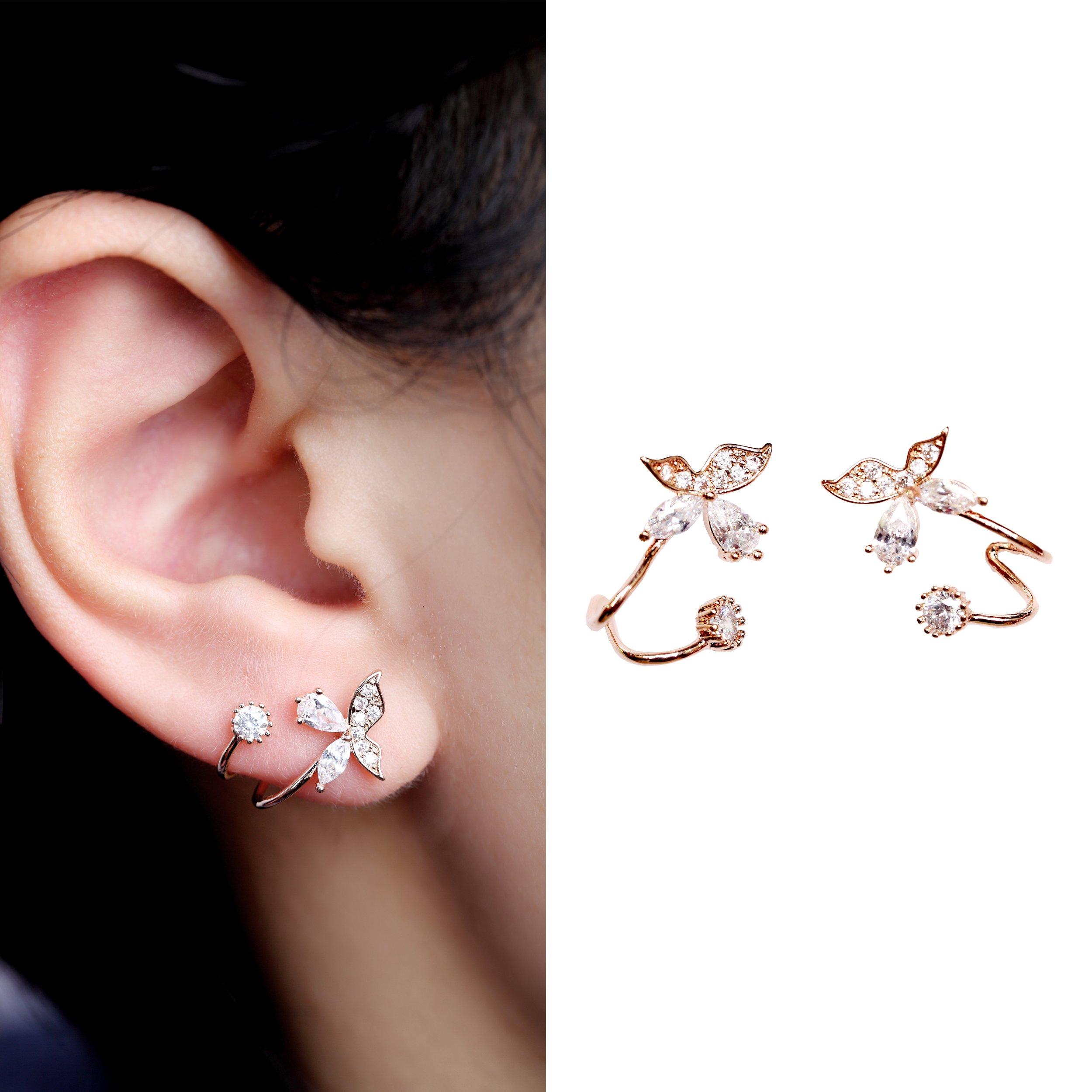EVERU Gold Bling Butterfly CZ Jewelry Piercing Ear Wraps Stud Earrings for Women's Gift