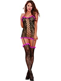 f3de777d2d DreamGirl Women s Masala Garter Dress With Attached Thigh Highs
