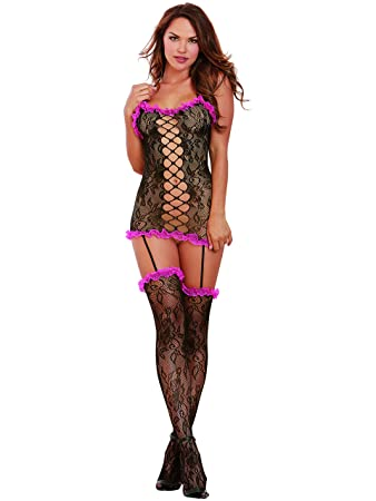 257a2d9116 Dreamgirl Women s Masala Hosiery Garter Dress with Attached Stockings