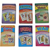 Kids Classic Card Games Bundle - Includes One of Each ( Old Maid, Hearts, Memory Match, Crazy Eights, Go Fish, War)