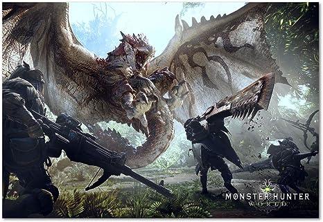 Impresión Pira Monster Hunter Poster Juego Mundo Playstation 4 Xbox 360 Juegos De Pc Póster Home Kitchen