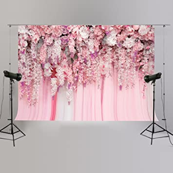 Pink Purple Tone Flower Wall Backdrop 7x5ft Polyester Graceful Rose Tulips Flowers Floral Wedding Stage Background Bridal Shower Party Banner Wedding Activities Video Studio Props