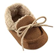 Luvable Friends Baby Cozy Moccasin Slipper, Chestnut, 6-12 Months Standard Width US Infant
