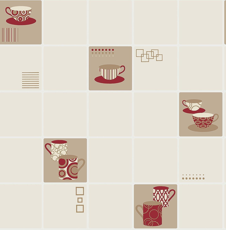 BHF FD13031 Tapete Ceramica Mit Tassenaufdruck Im Retrodesign, Für Küche  Und Badezimmer, Purpurrot: Amazon.de: Baumarkt