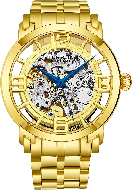 Stuhrling Original Men's 165B2B.333331 Winchester 44 Elite Automatic Skeleton Goldtone Watch