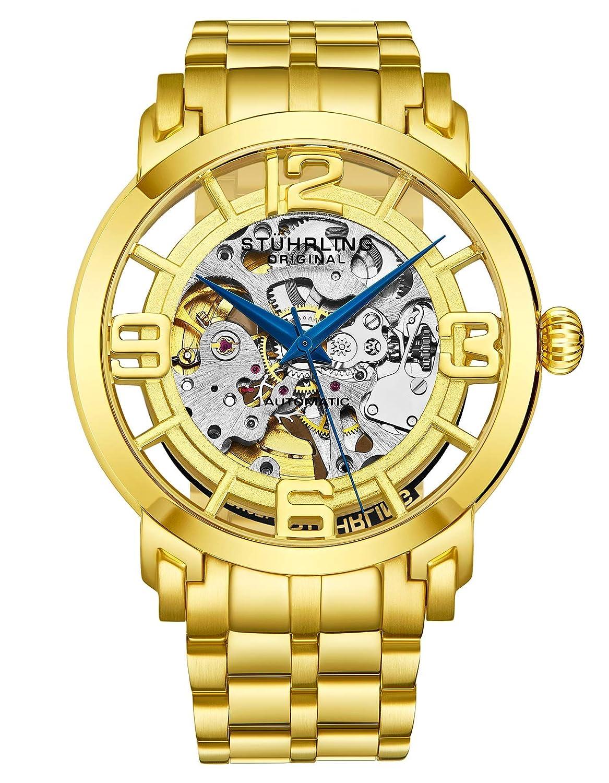 Stuhrling Original Men s 165B2B.333331 Winchester 44 Elite Automatic Skeleton Goldtone Watch