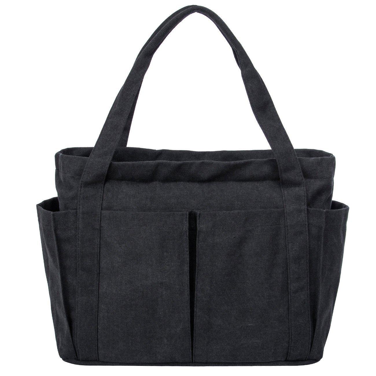 Canvas Shoulder Bag Large Beach Travel Shopper Tote Bag Casual Handbag Carry All Shopping Bag Hobo Style (Black)