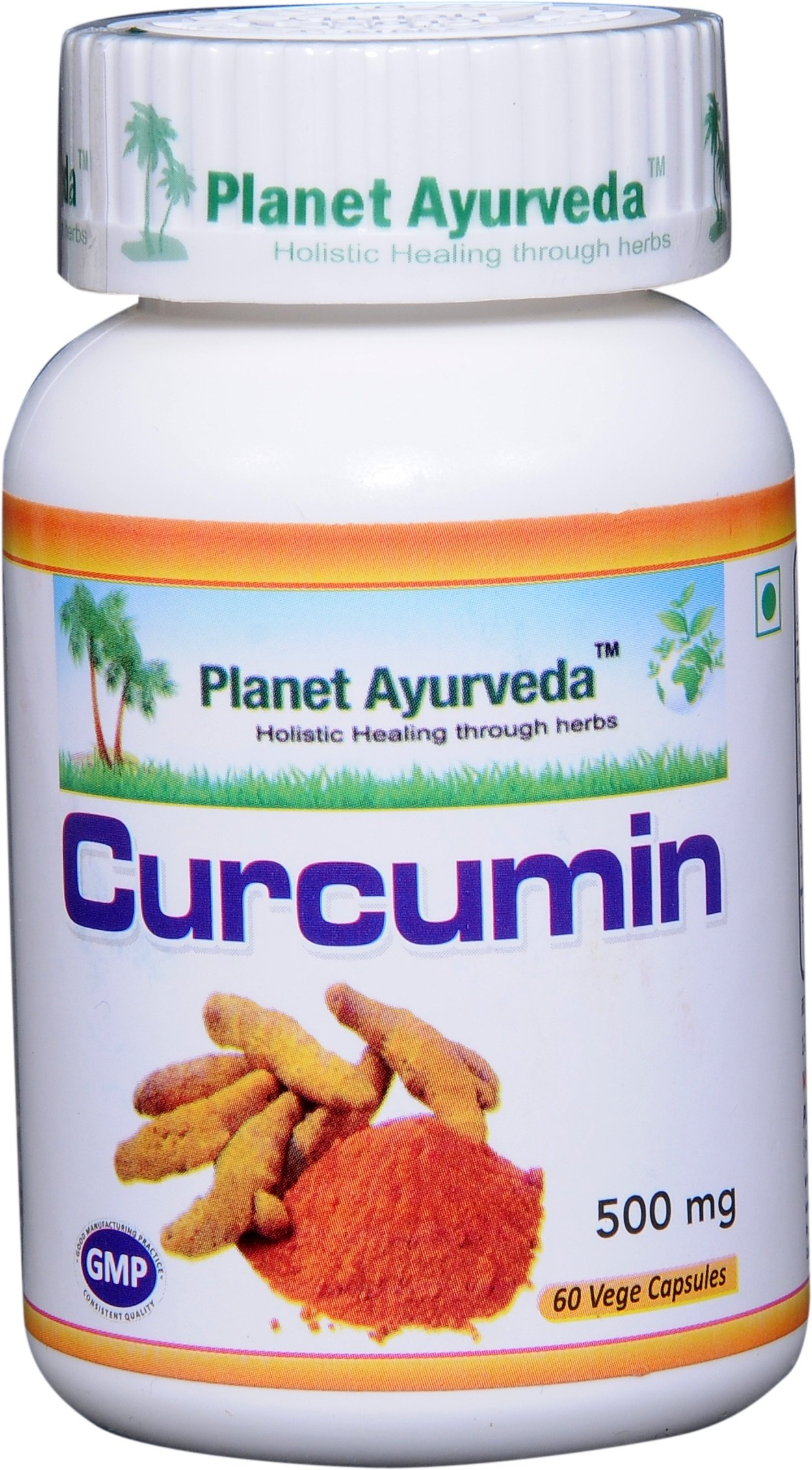 Curcumin - 2 bottles (each 60 capsules, 500mg) - Planet Ayurveda in USA