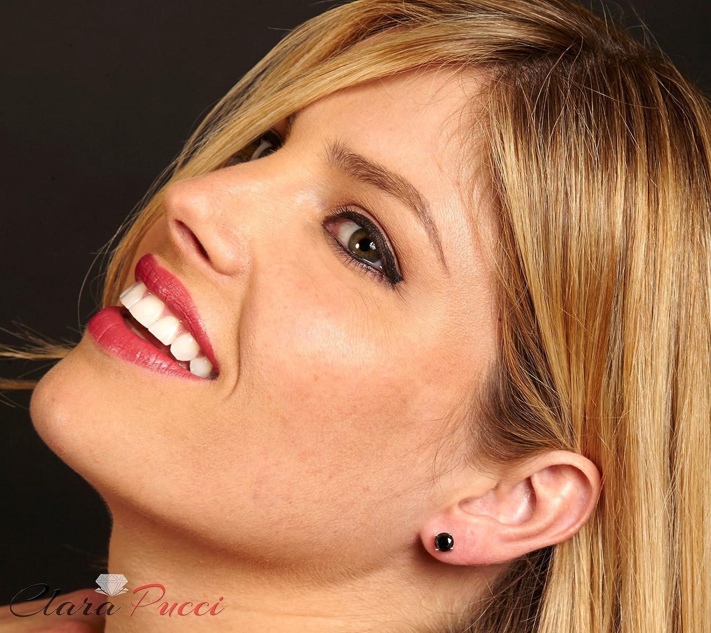 Clara Pucci 0.80 CT Brilliant Round Cut Black CZ Fancy Color Stud Earrings 14k White Gold Screw Back