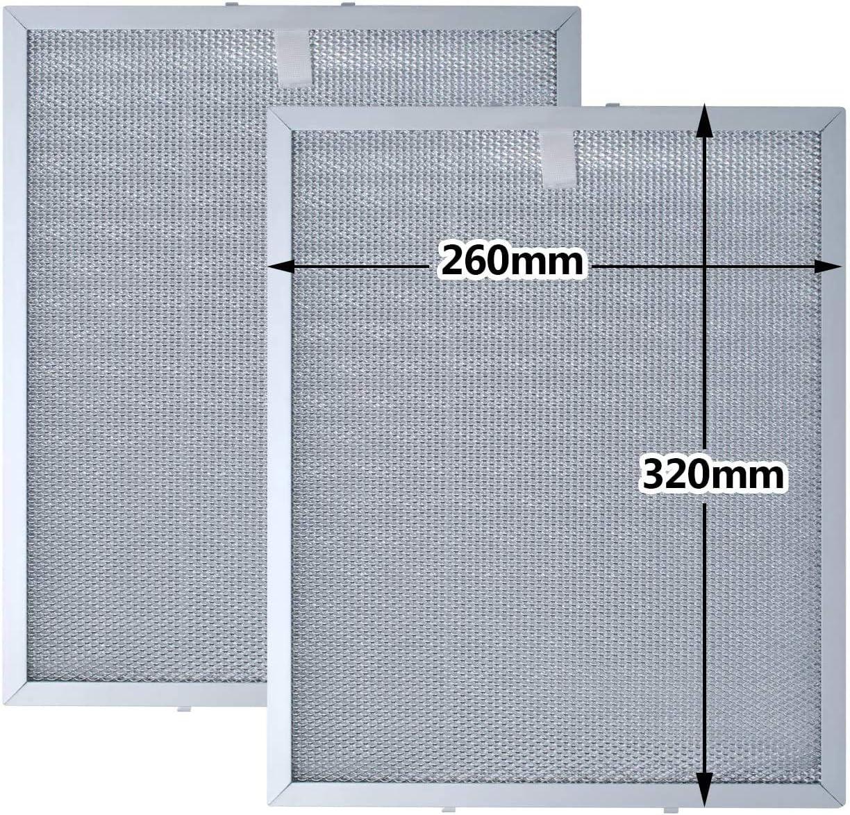 Filtro Grasa de Malla de Metal para Campana Extractora de Cocina por Poweka (320 * 260mm 2 piezas)