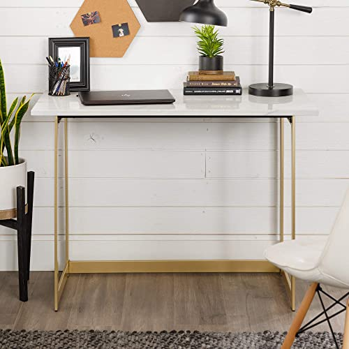 Walker Edison Modern Glam Faux Top Laptop Writing Desk Home Office Workstation Small