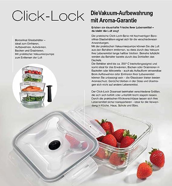 Click Lock Juego de 9 piezas Cristal – Recipiente con tapa y vacío ...