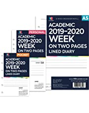 NBplanner® Academic 2019–2020 Week on Two Pages Lined Diary Organiser Refill Planner Insert Filofax Compatible (Personal: 95 x 171mm)