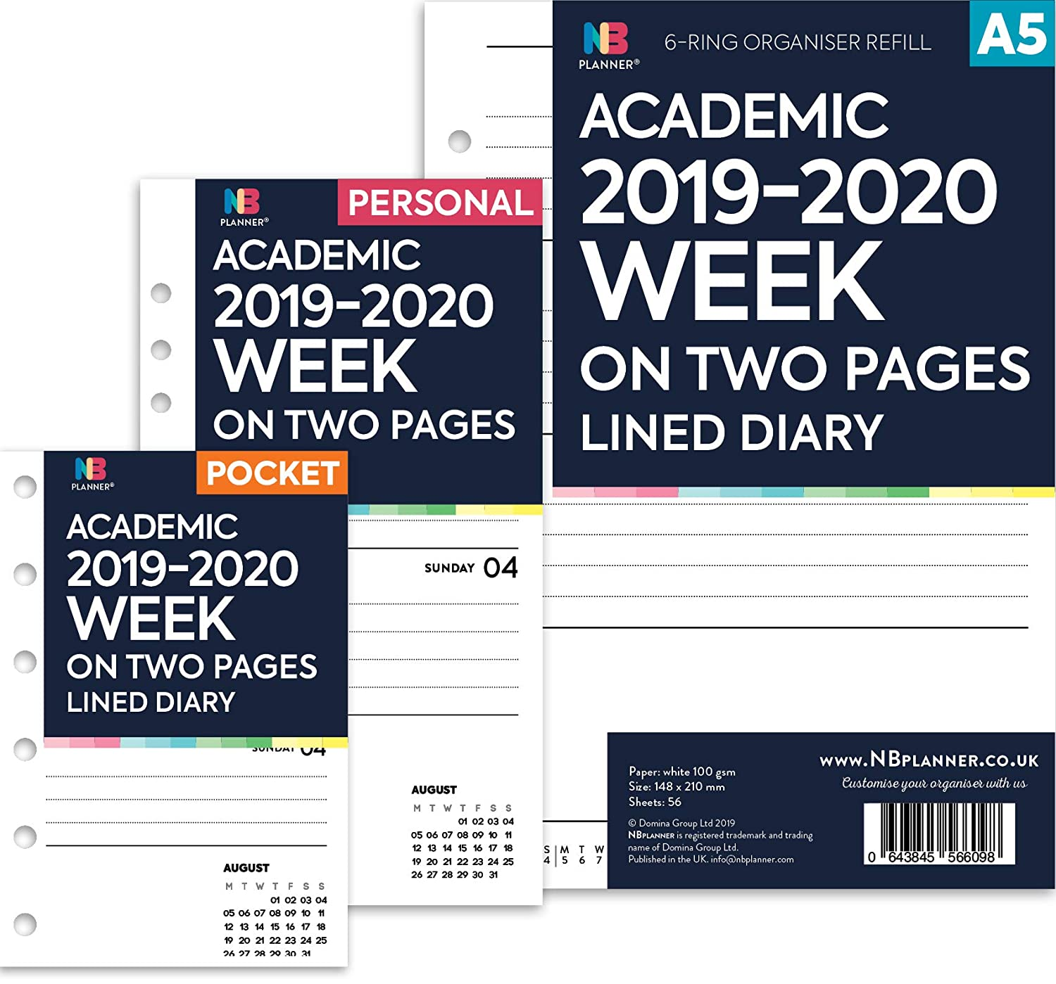 Filofax Personal ACADEMIC MID YEAR 2019-2020 Week On Two Pages Diary Refill
