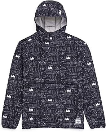 Herschel Jean-Michel Basquiat Voyage Anorak Jacket Men Beat Bop Polyester diamond ripstop with DWR finish Transformative jacket/hip pack design Top and side-access front pocket(X-Large)
