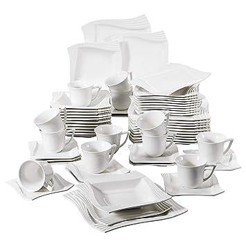 e9774ee449f4b1 MALACASA, Série Amparo, 60pcs Services de Table Complets Porcelaine, 12  Tasses à Café