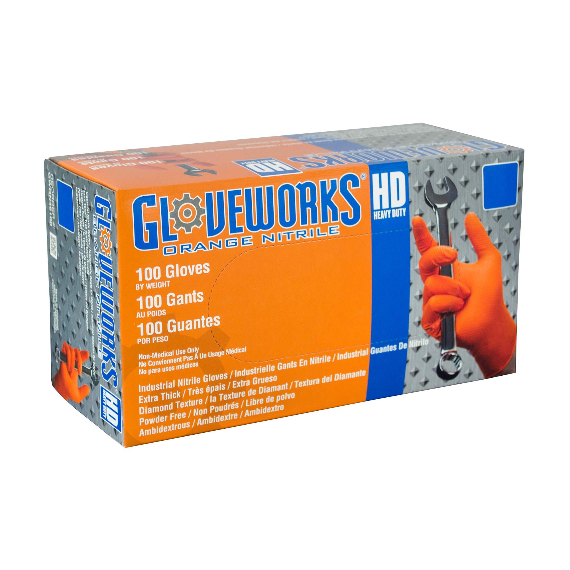 AMMEX - GWON44100 - Nitrile Gloves - Gloveworks, Heavy Duty, Disposable, Powder Free, Latex Rubber Free, 8 mil, Medium, Orange (Case of 1000) by Ammex (Image #6)