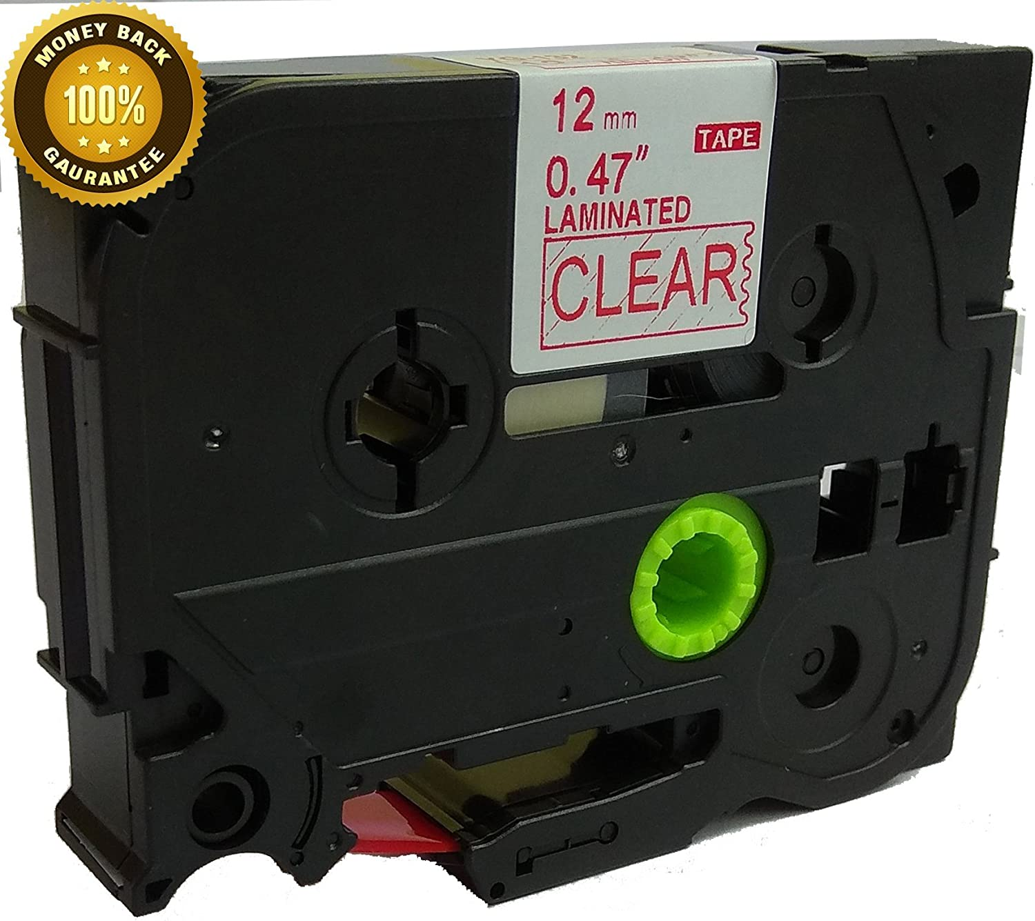 """TZ 132 TZe 132 Red on Clear Label Tape Fit for Brother P-touch PT-D210 1//2/"""" 12mm"""