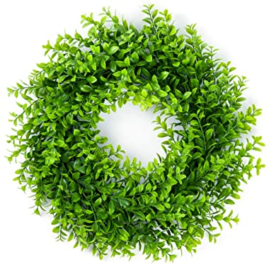 Lvydec Artificial Green Leaves Wreath - 16  Artificial Boxwood Wreath for Front Door Wall Window Party Décor, Indoor/Outdoor Use